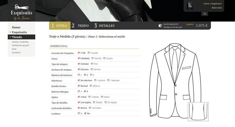 Configurador online que permite crear un traje o Americana en 10 minutos